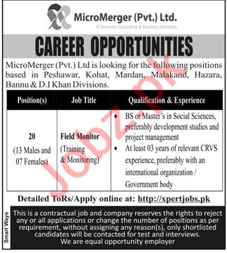 MicroMerger Peshawar Jobs 2021 for Field Monitor
