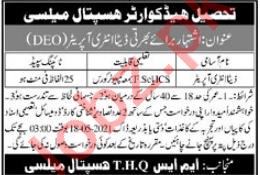 Tehsil Headquarter THQ Hospital Mailsi Jobs 2021