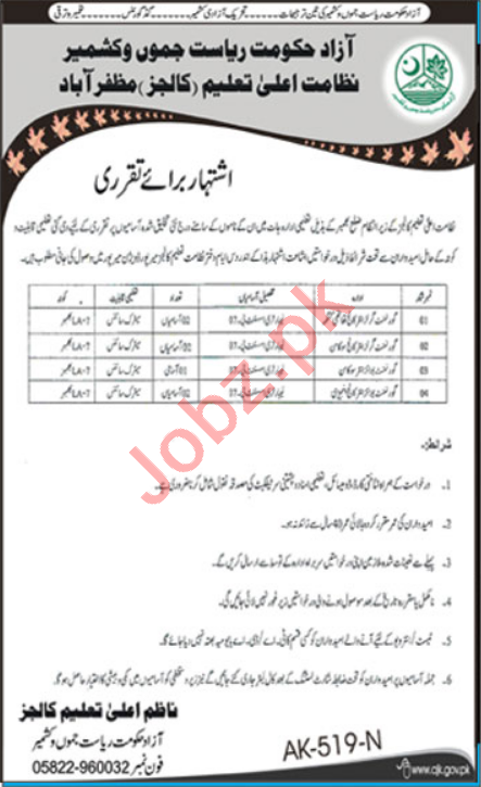 Higher Education Department HED Colleges AJK Jobs 2021