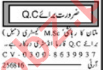 Quality Control Analyst & QC Officer Jobs 2021 in Multan