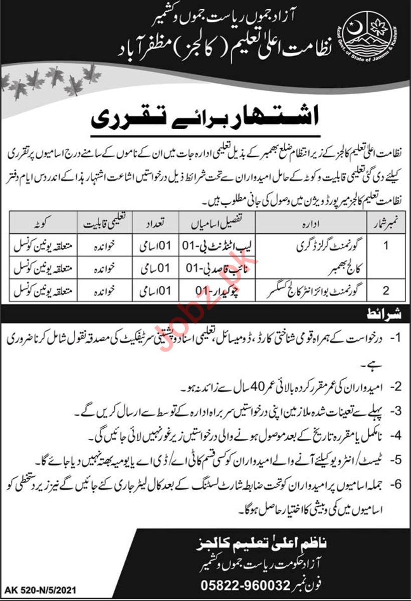 Higher Education Department HED AJK Jobs 2021 Lab Attendant