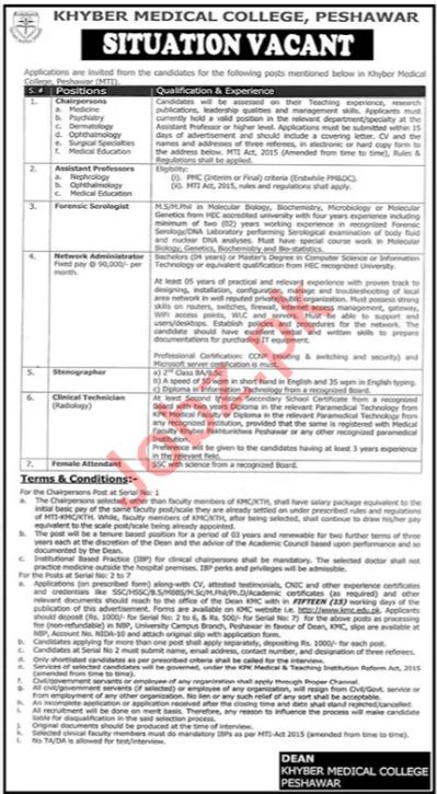Khyber Medical College KMC Peshawar Jobs 2021 for Professors