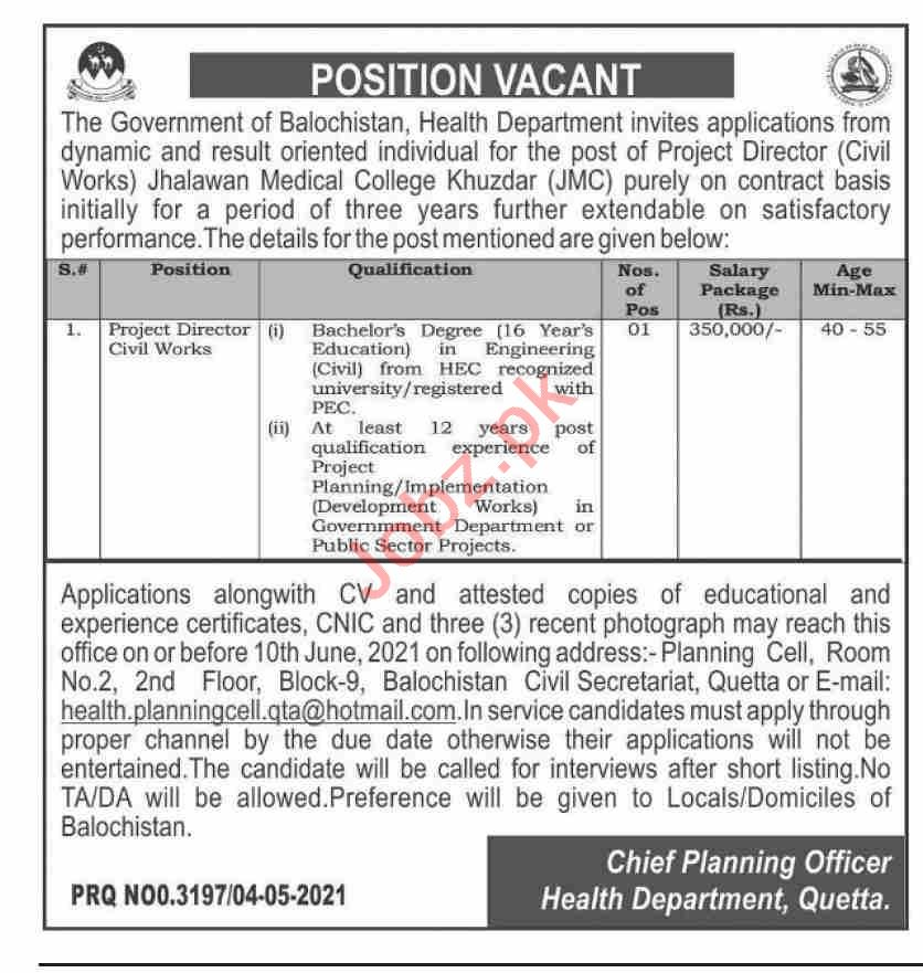 Jhalawan Medical College Khuzdar Jobs 2021 Project Director