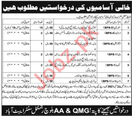 AA & QMG Baloch Regiment Center Abbottabad Jobs 2021