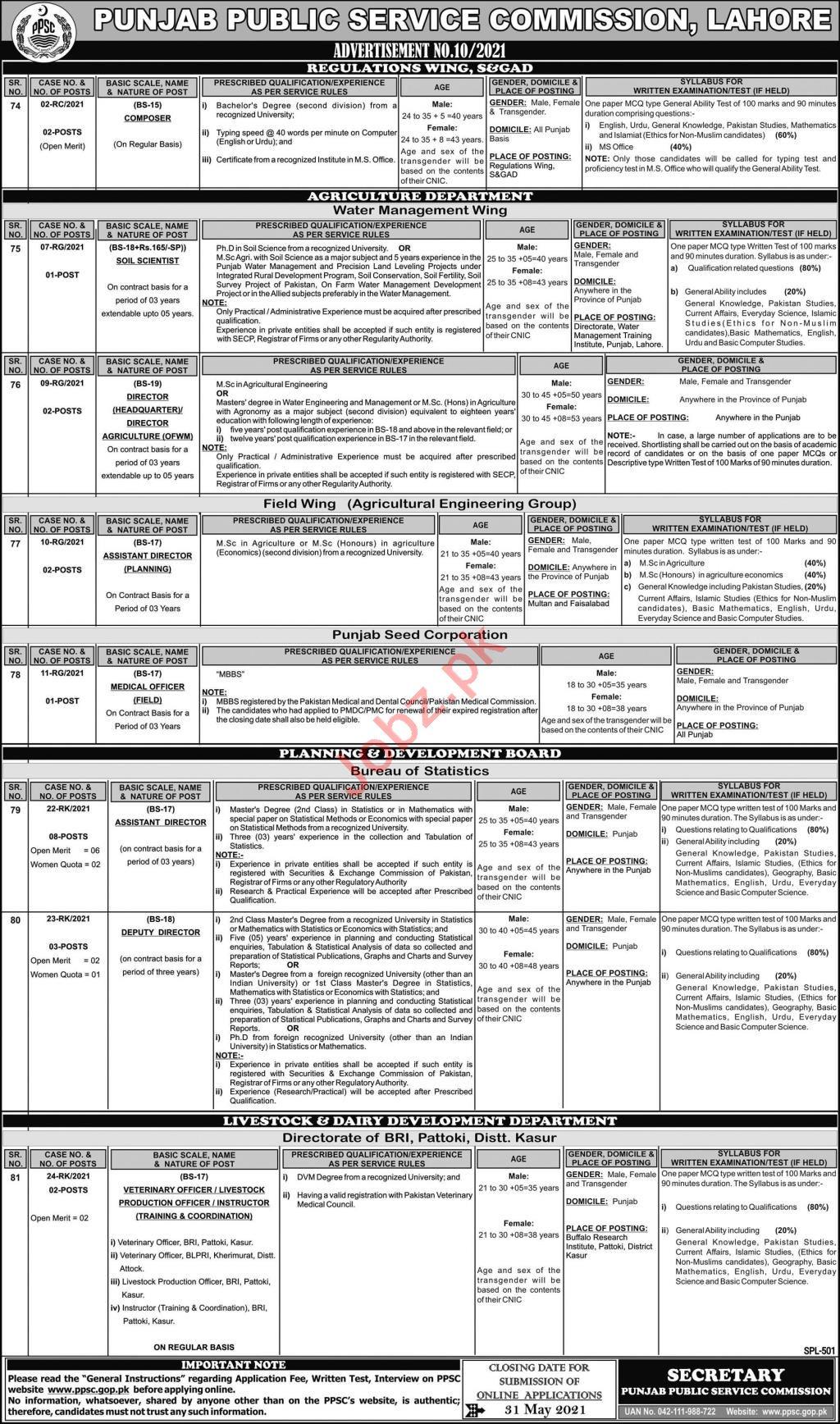 PPSC Advertisement No 10 Jobs May 2021 Jobs 2021
