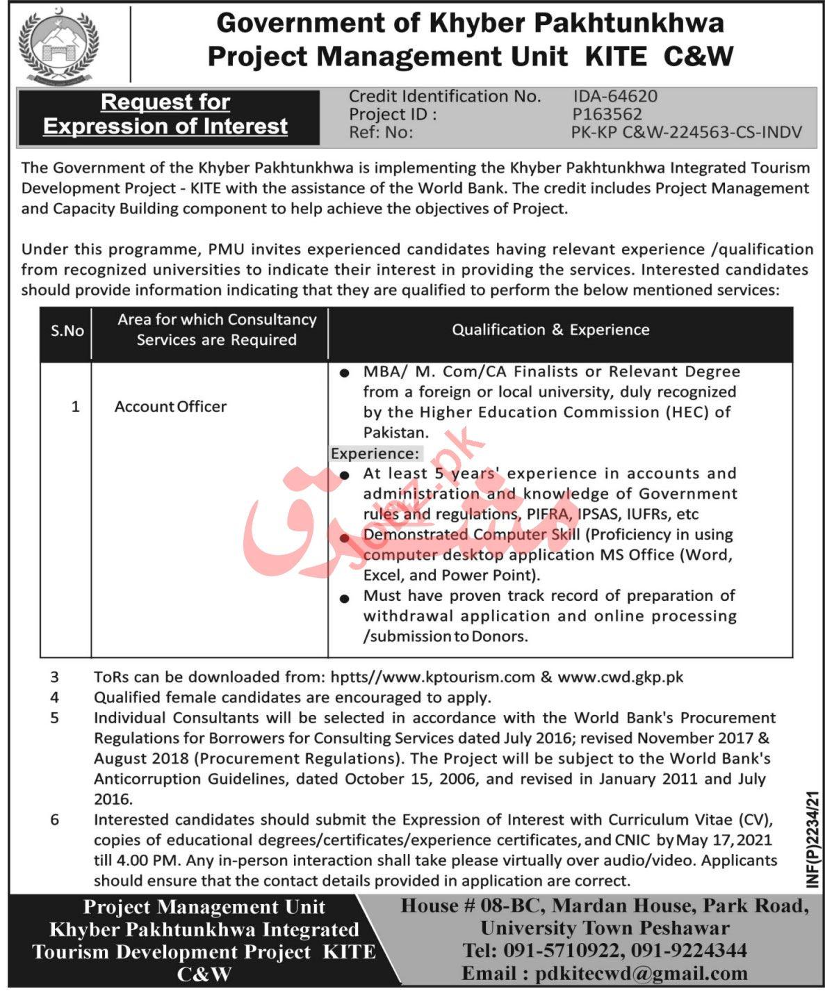Integrated Tourism Development Project KITE Peshawar Jobs