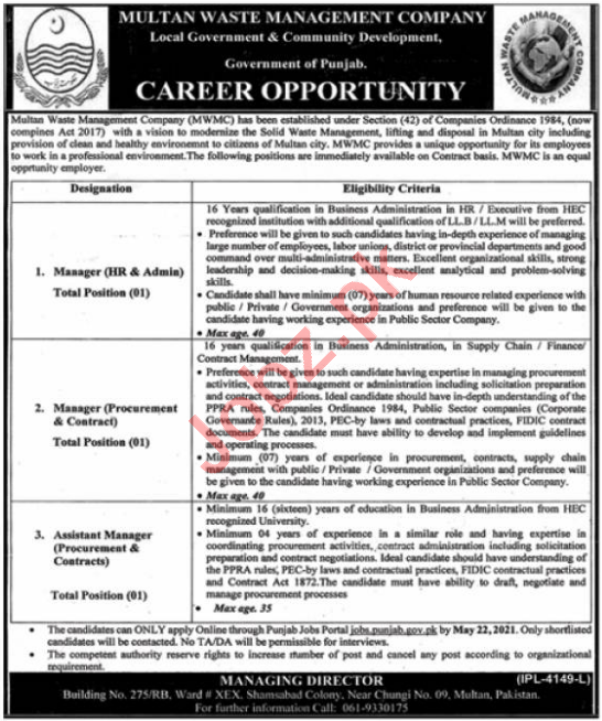 Multan Waste Management Company MWMC Jobs 2021 for Managers