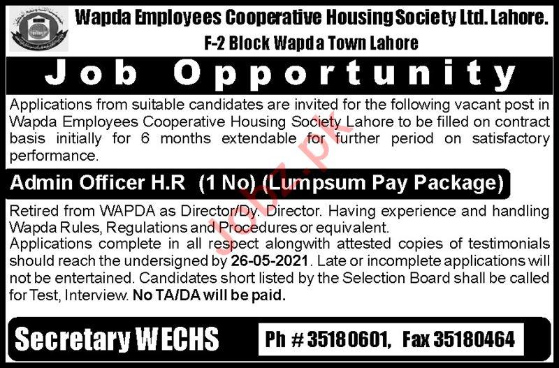 Wapda Employees Cooperative Housing Society Lahore Jobs 2021