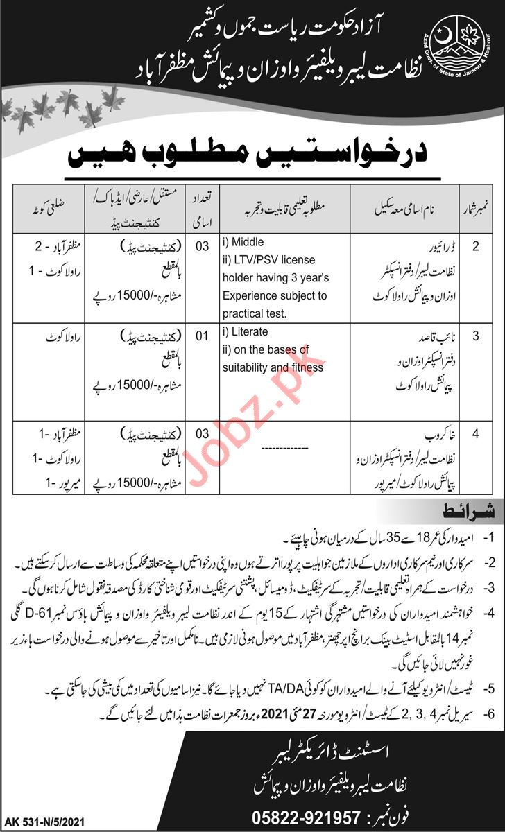 Labour Welfare And Weights & Measures AJK Jobs 2021