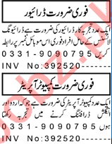 Computer Operator & Driver Jobs 2021 in Peshawar