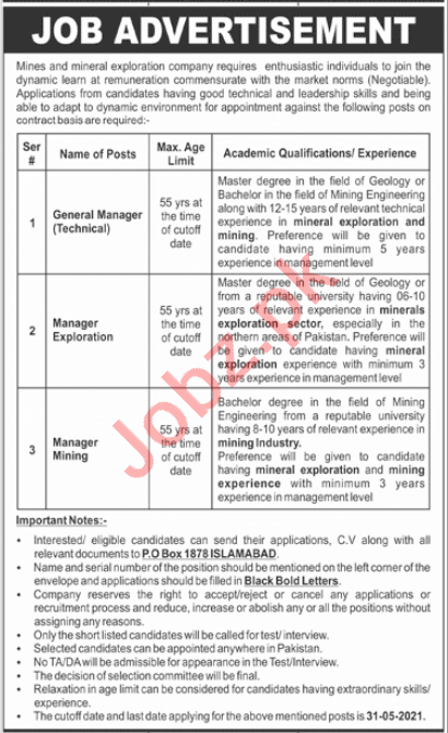 General Manager Technical & Manager Exploration Jobs 2021