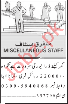 House Staff Jobs Open in Islamabad 2021