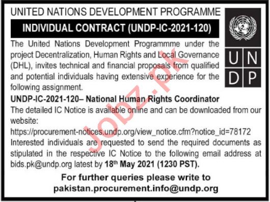 UNDP Jobs 2021 for National Human Rights Coordinator