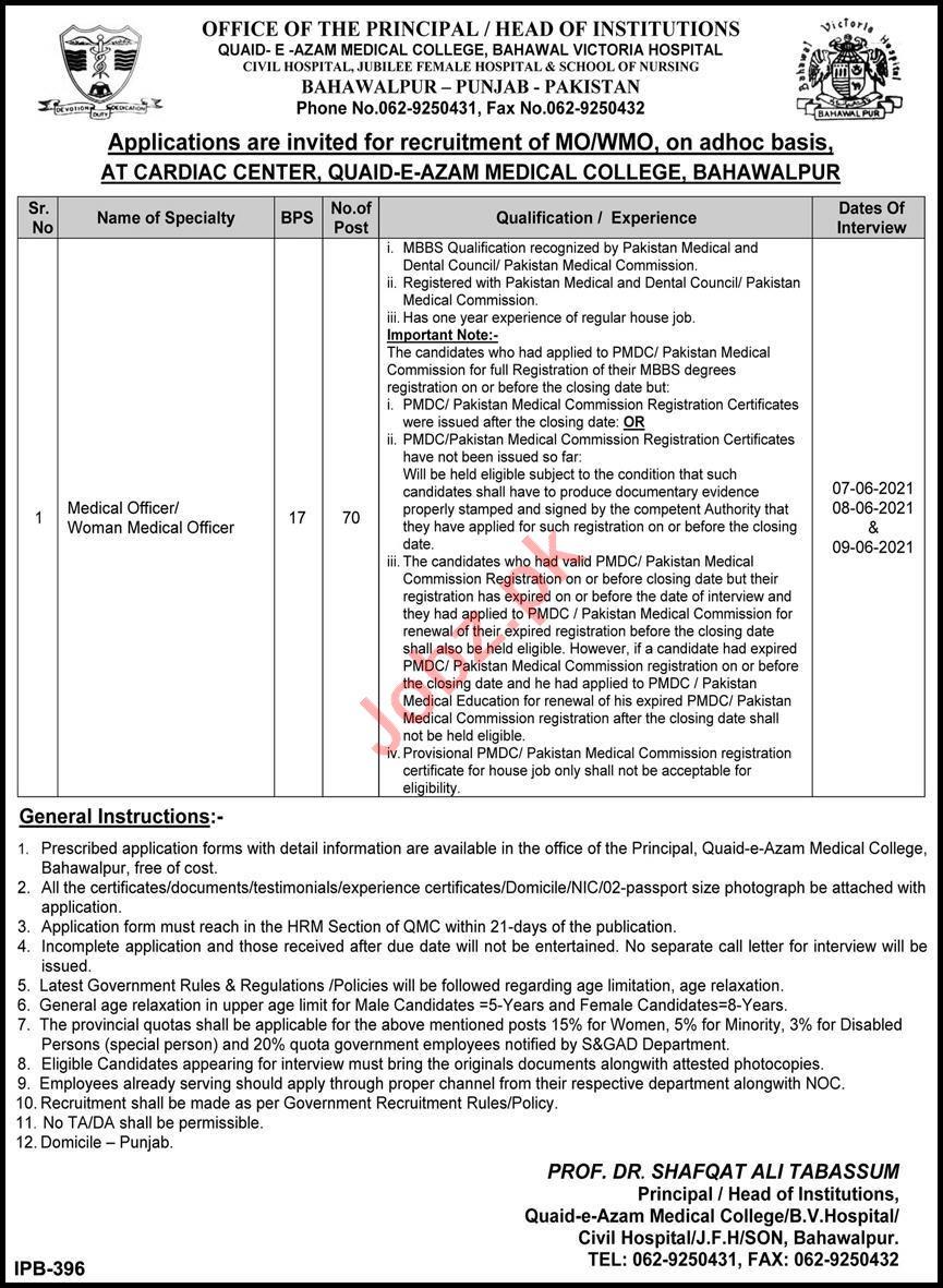 Bahawal Victoria Hospital BVH Bahawalpur Jobs 2021