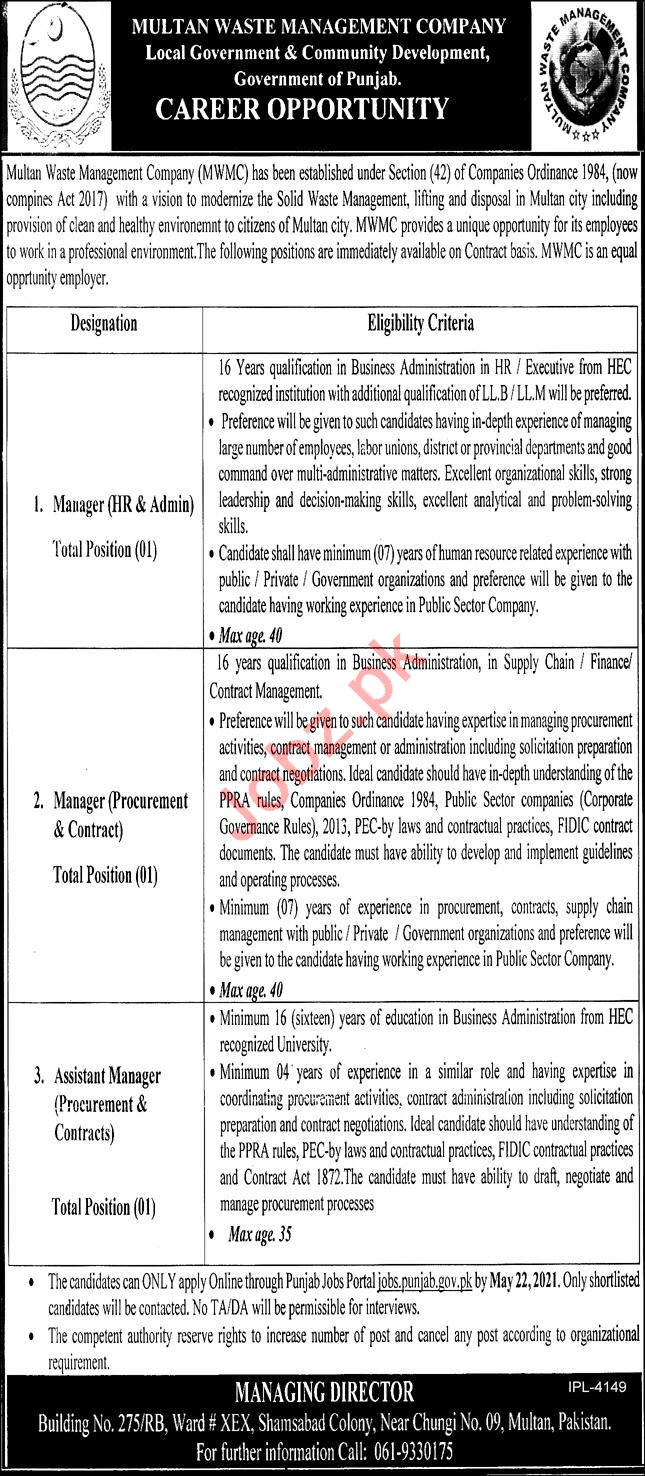 Manager Jobs 2021 in Multan Waste Management Company MWMC