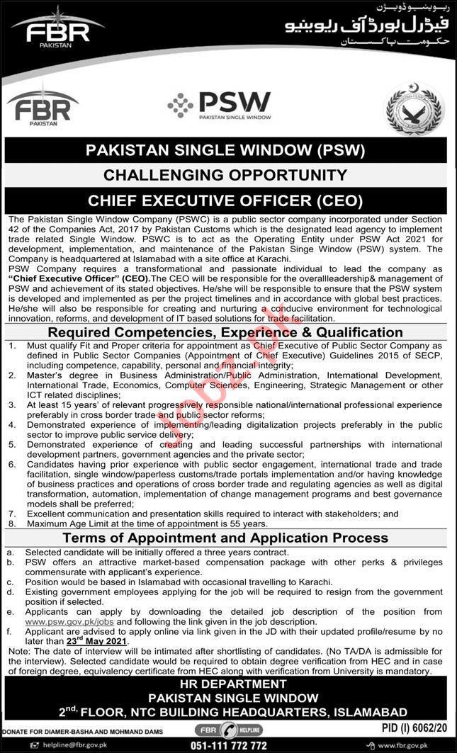 FBR Pakistan Single Window PSW Islamabad Jobs 2021 for CEO