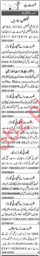 AC Technician & Security Guard Jobs 2021 in Islamabad