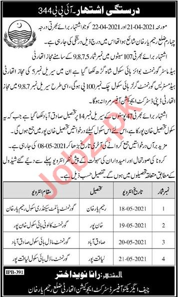 Education Department Rahim Yaar Khan Jobs 2021