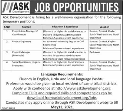 ASK Development KPK Jobs 2021 for Project Engineers