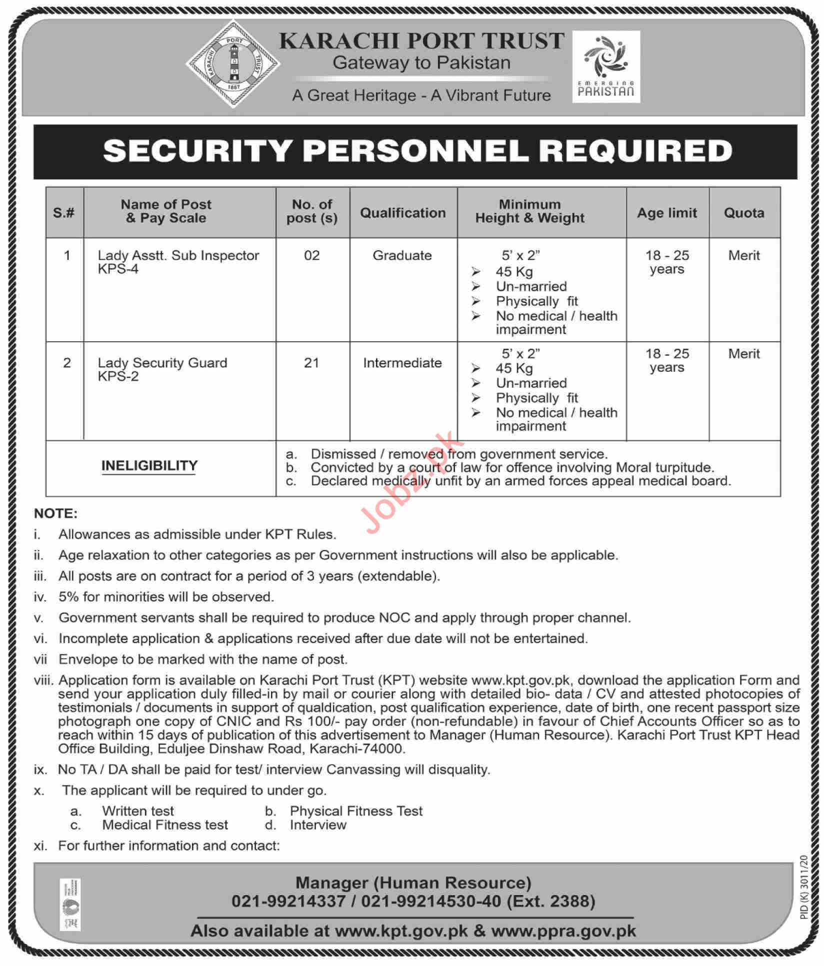 Karachi Port Trust KPT Jobs 2021 for Security Professionals