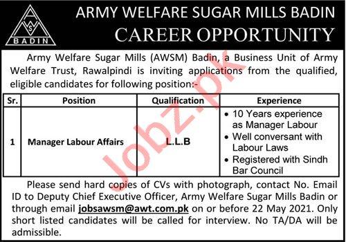 Army Welfare Sugar Mills AWSM Badin Jobs 2021