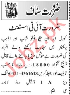 IT Assistant & Hardware Technician Jobs 2021 in Lahore