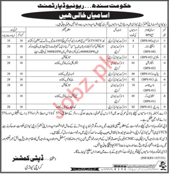 Deputy Commissioner DC Keamari Karachi Jobs 2021