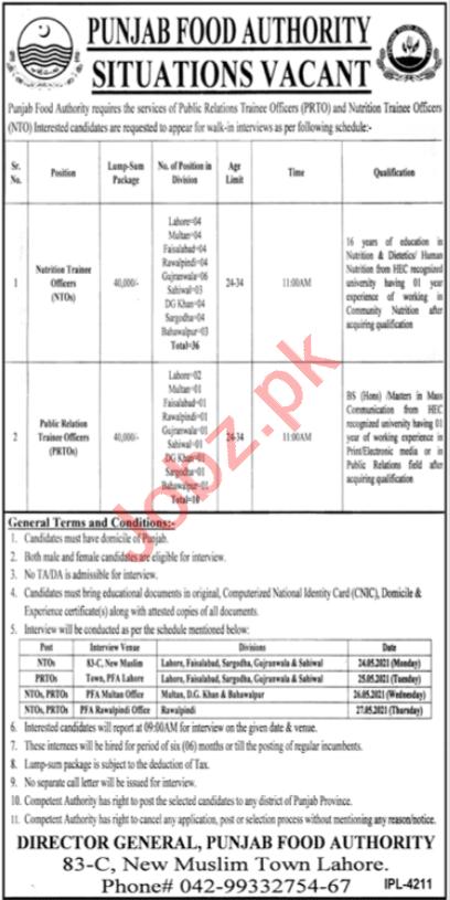 Punjab Food Authority PFA Lahore Jobs 2021 for NTO