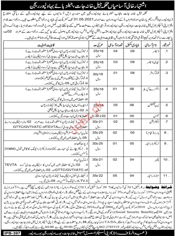 Jail Department Bahawalpur Region Jobs 2021 for Dispenser