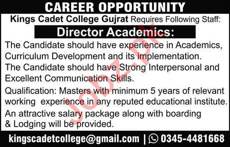 Kings Cadet College Gujrat Jobs 2021 for Director Academics