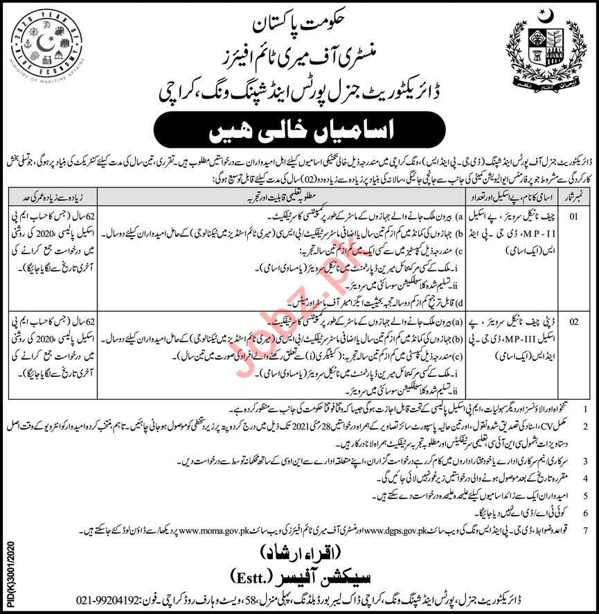 Ministry of Maritime Affairs MOMA Karachi Jobs 2021