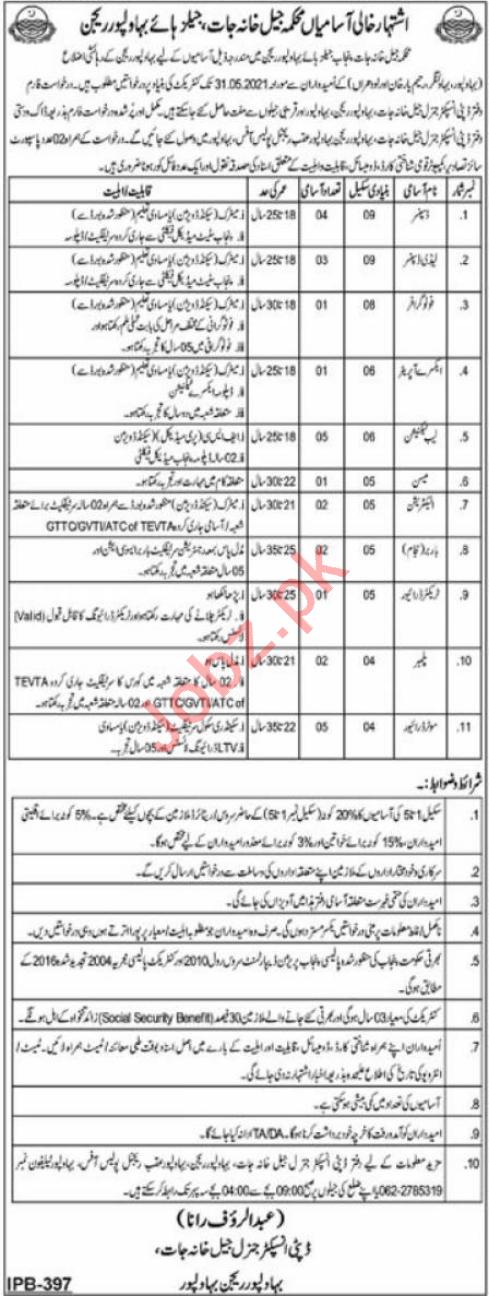 Prison Department Bahawalpur Region Jobs 2021 for Dispenser