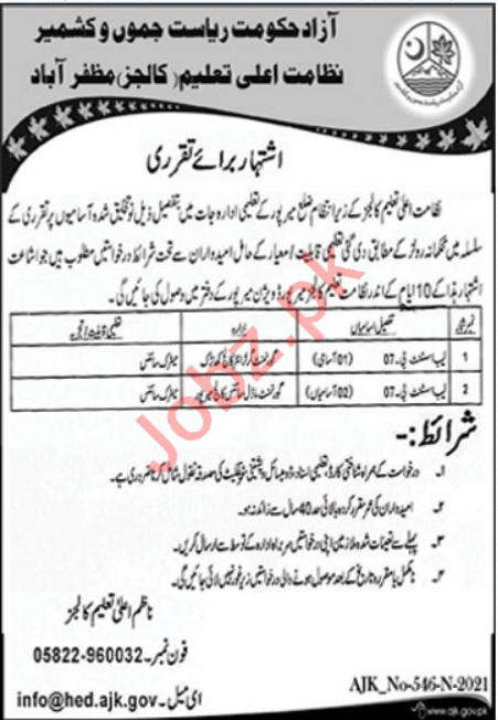 Higher Education Department HED College Mirpur Jobs 2021