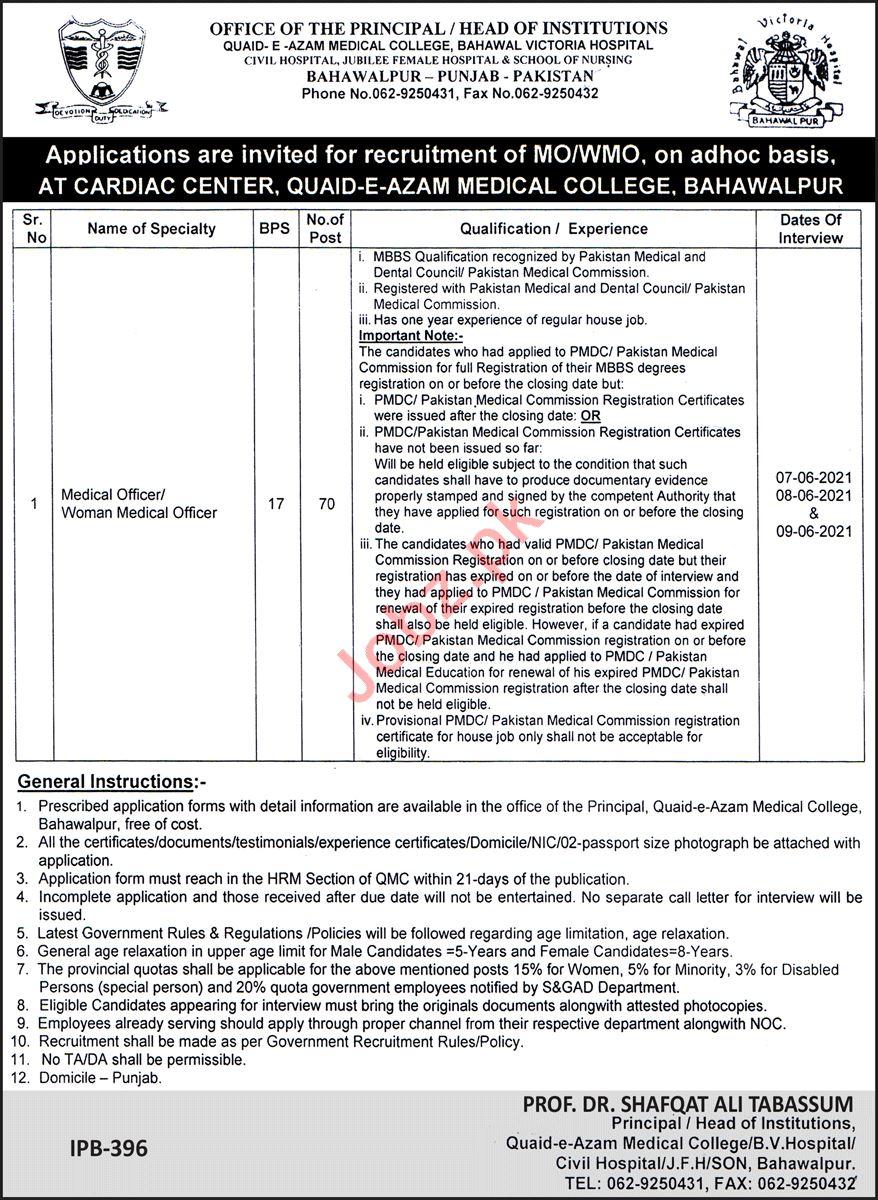 Quaid e Azam Medical College QAMC Bahawalpur Jobs 2021