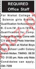 Accountant Jobs 2021 in Nishat College of Science Multan