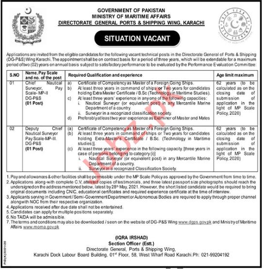 Ministry of Maritime Affairs MOMA Karachi Jobs 2021 Surveyor