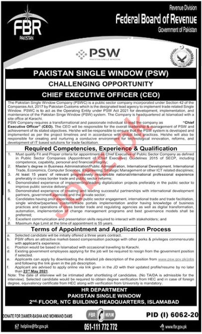PSW Islamabad Jobs 2021 for Chief Executive Officer & CEO