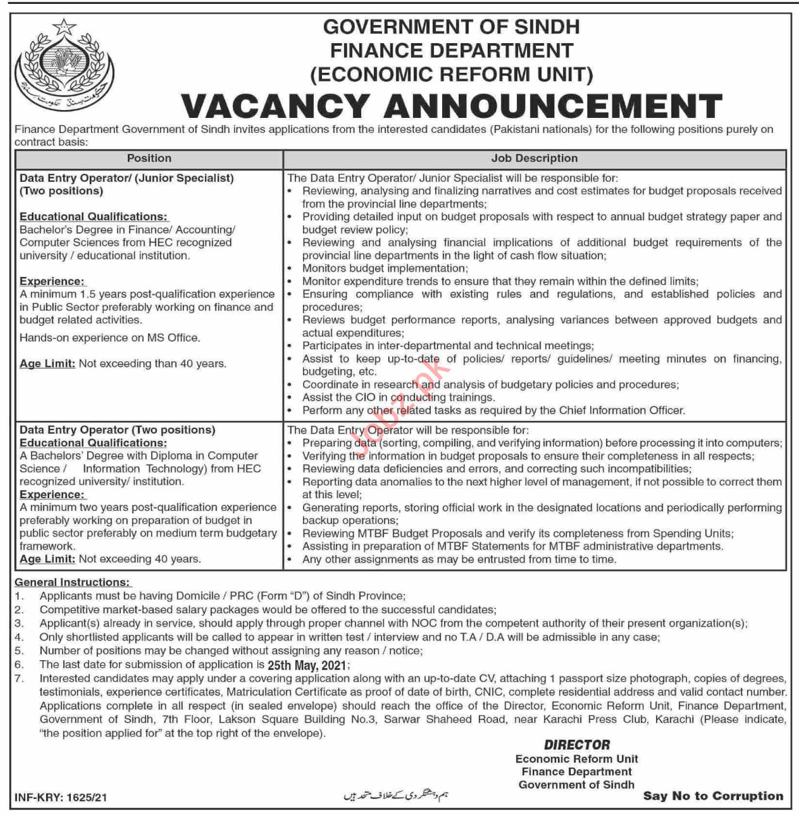 Finance Department Economic Reform Unit Karachi Jobs 2021