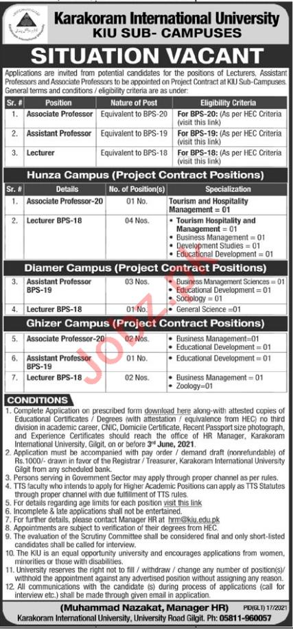 Karakoram International University KIU Sub Campus Jobs 2021