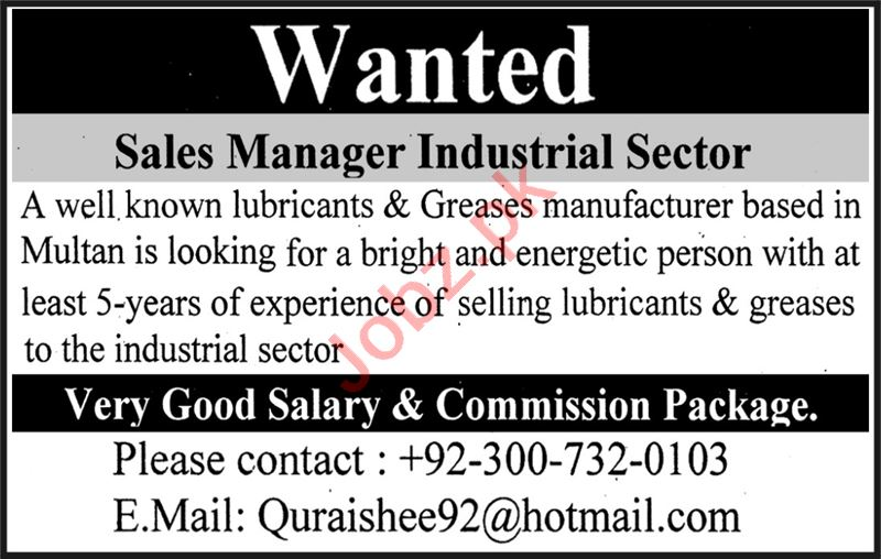 Sales Manager & Sales Manager Industrial Jobs 2021