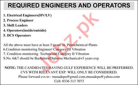 Electrical Engineer & Process Engineer Jobs 2021 in Lahore