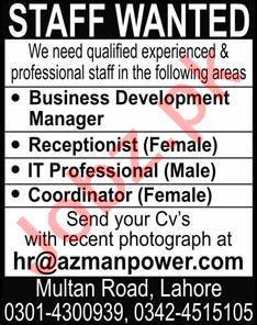 Azman Power Lahore Jobs 2021 for Receptionist