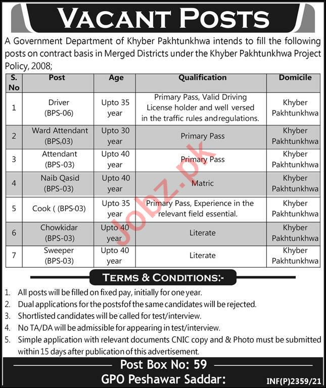 Post Box No 59 GPO Peshawar Saddar Jobs 2021 for Drivers