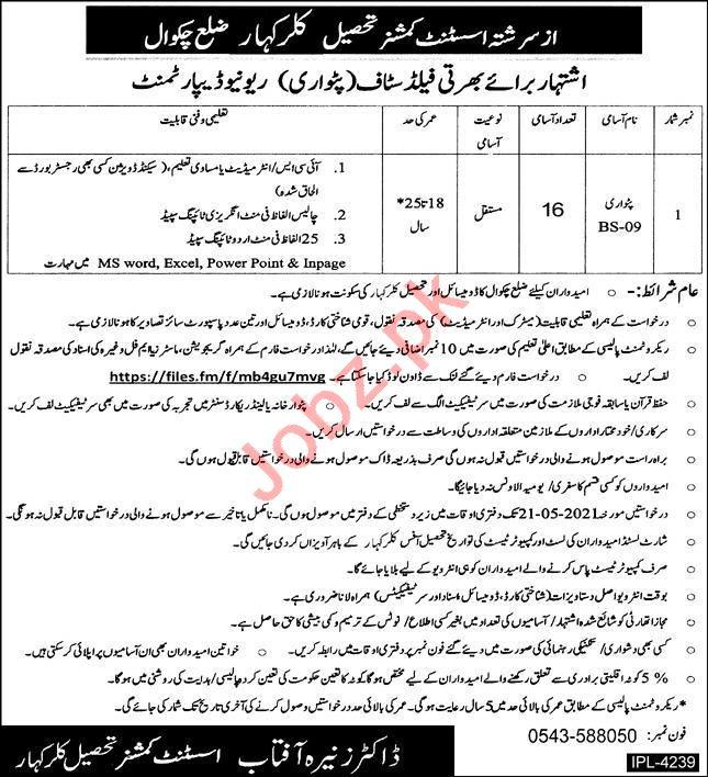 Assistant Commissioner AC Tehsil Kallar Kahar Jobs 2021