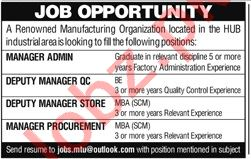 Manager Admin & Deputy Manager QC Jobs 2021 in Hub