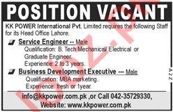 Service Engineer Jobs in KK Power International Lahore