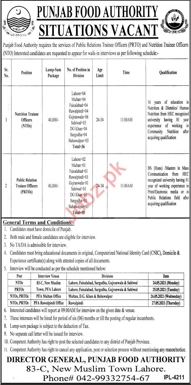Punjab Food Authority PFA Lahore Jobs 2021 for NTO & PRTO
