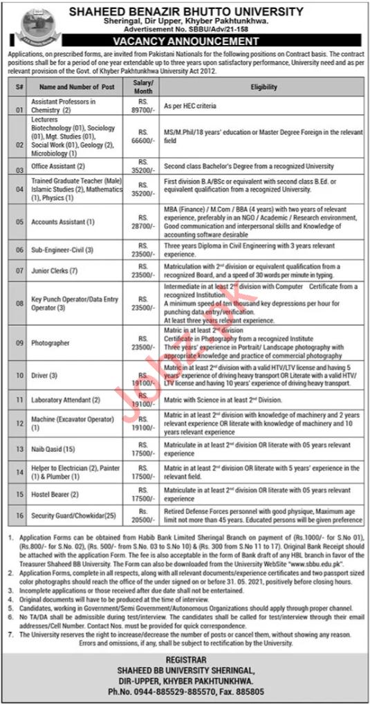 SBBU University Sheringal Dir Upper Jobs 2021 for Lecturers