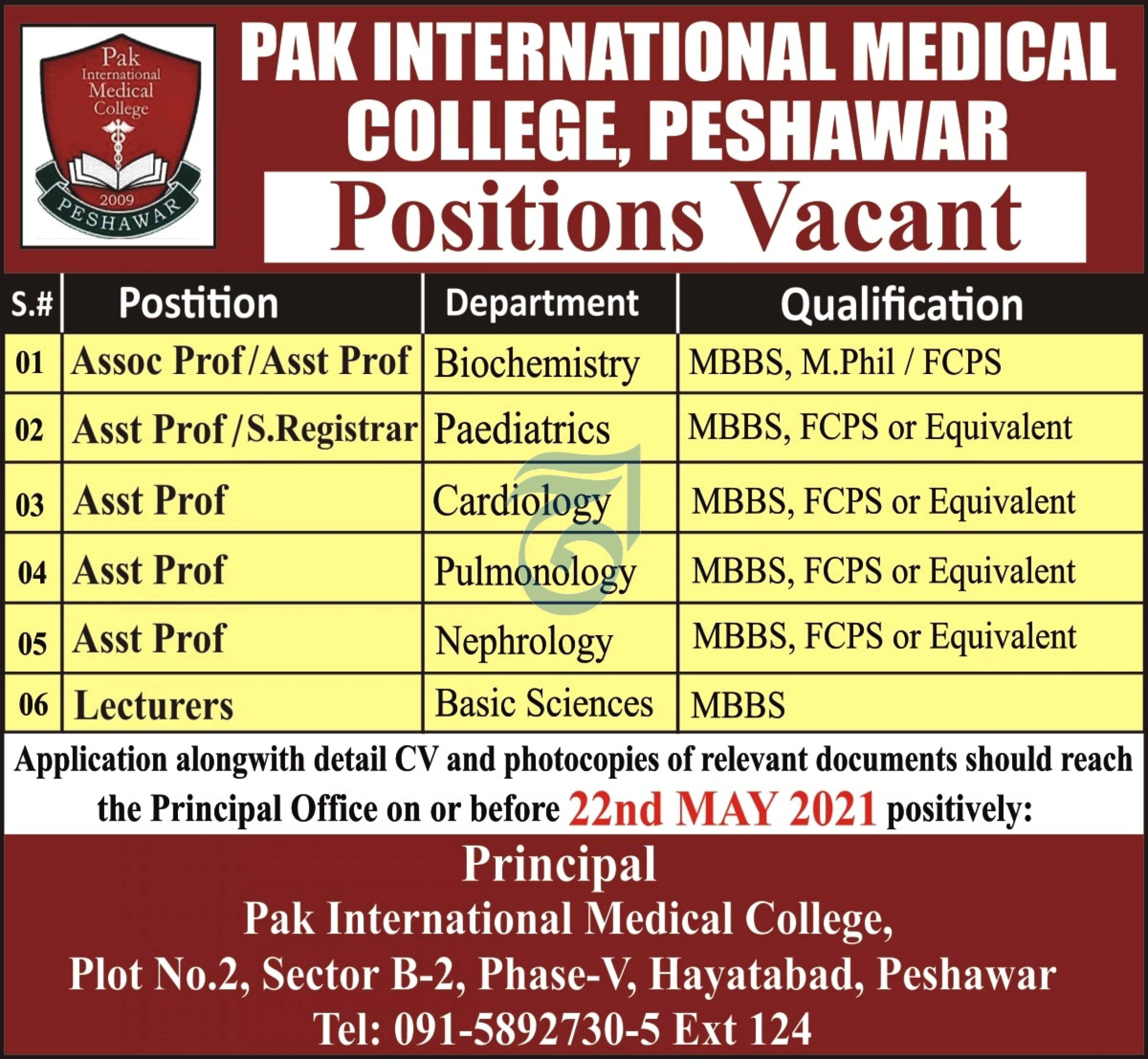 Pak International Medical College Jobs 2021 in Peshawar