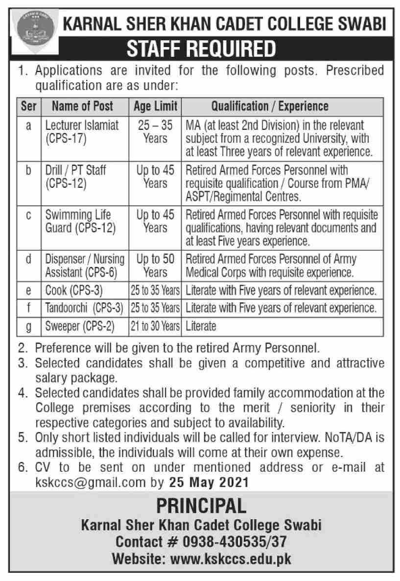 Karnal Sher Khan Cadet College Swabi Jobs 2021